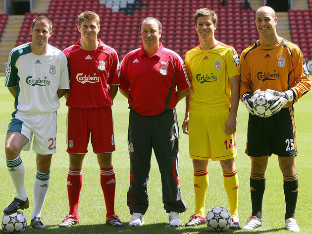 Liverpool football club (from L) Jamie C