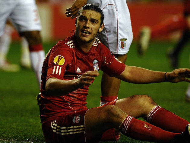 Liverpool's Andy Carroll appeals to the