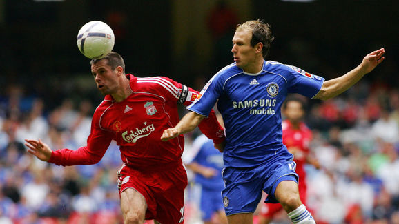 Liverpool's Captain Jamie Carragher (L)
