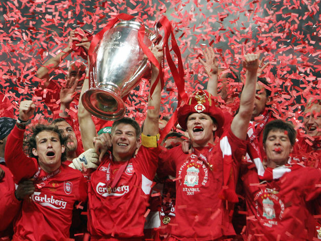 Liverpool's captain Steven Gerrard holds