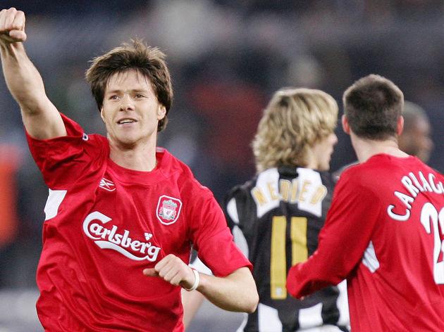 Liverpool's midfielder Alonso Xabi celeb