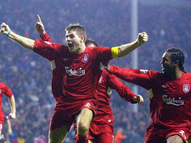 Liverpool's Steven Gerard celebrates sco
