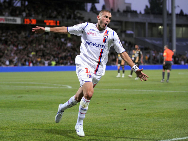 Lyon French forward Karim Benzema jubila