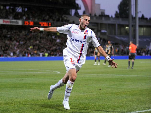 Lyon French forward Karim Benzema jubila