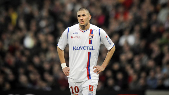 Lyon's forward Karim Benzema reacts at t