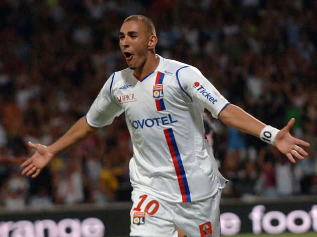Lyon's french forward Karim Benzema cele
