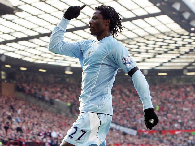 Manchester City's Benjani Mwaruwari cele