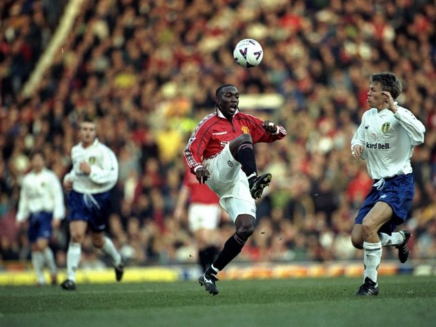 Manchester United v Leeds United Dwight Yorke and Gunnar Halle