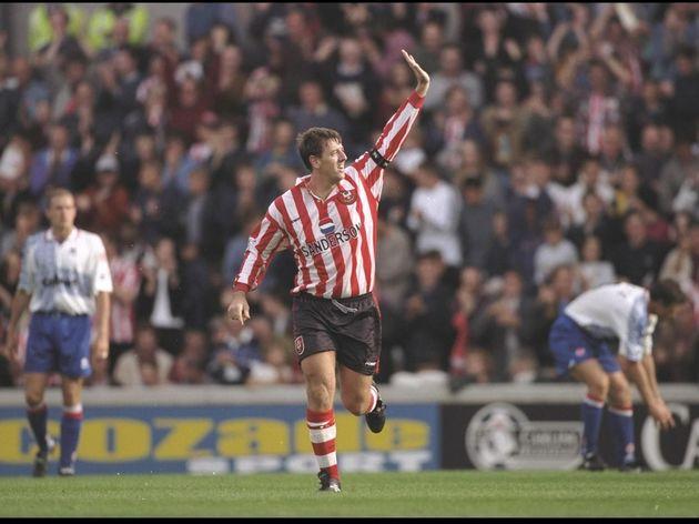 Matt Le Tissier of Southampton celebrates his two goals