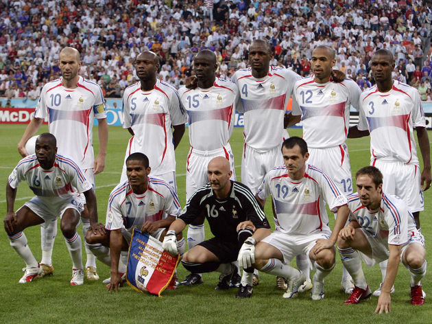 Members of the French team pose at the s