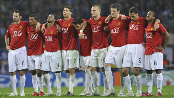 Members of the Manchester United team wa