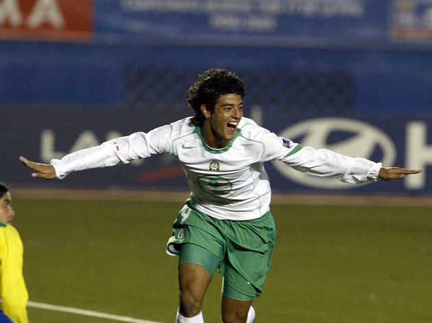 Mexican Carlos Vela celebrates his goal