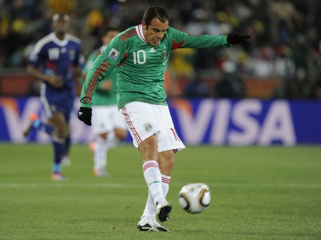 Mexico's striker Cuauhtemoc Blanco kicks