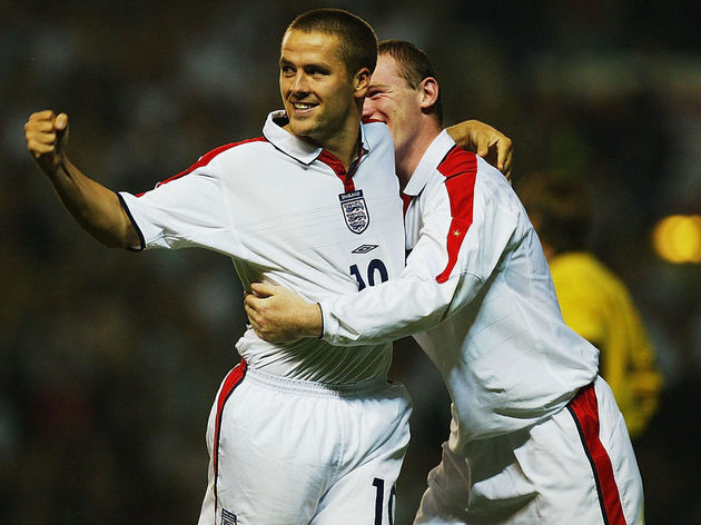Michael Owen of England celebrates