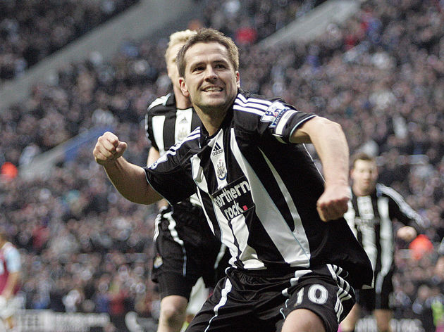 Michael Owen of Newcastle celebrates sco