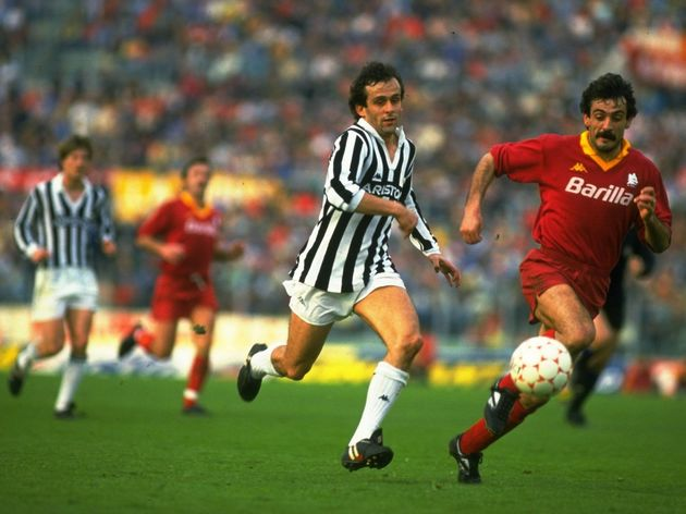 Michel Platini of Juventus and Emidio Oddi of Roma