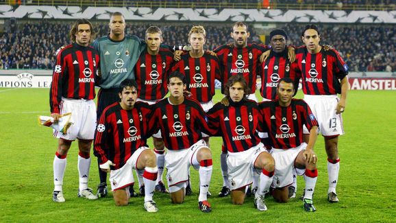 Milan's players pose for a team picture