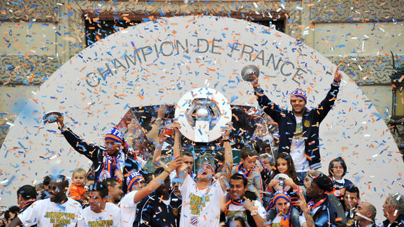 Montpellier's football club players cele