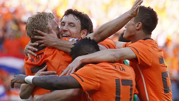 Netherlands football players celebrate a