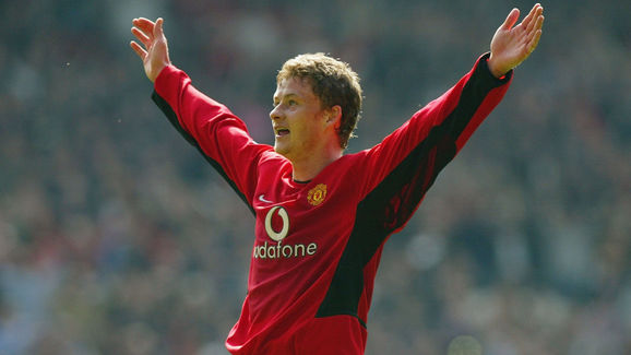 Ole Gunnar Solskjaer of Manchester United celebrates scoring the fourth goal