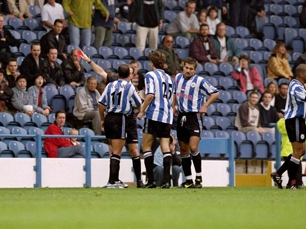 Paolo Di Canio of Sheffield Wednesday is sent off by Paul Alcock the referee