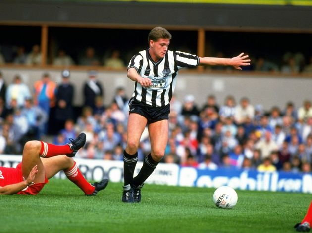 Paul Gascoigne of Newcastle United and Jan Molby of Liverpool