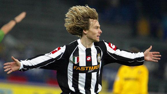 Pavel Nedved of Juventus celebrates after scoring