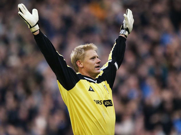 Peter Schmeichel of Manchester City celebrates victory