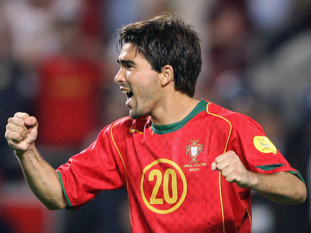 Portugal's midfielder Deco celebrates af
