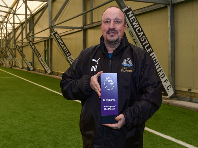 Rafael Benitez Wins the Barclays Manager of the Month Award - November 2018