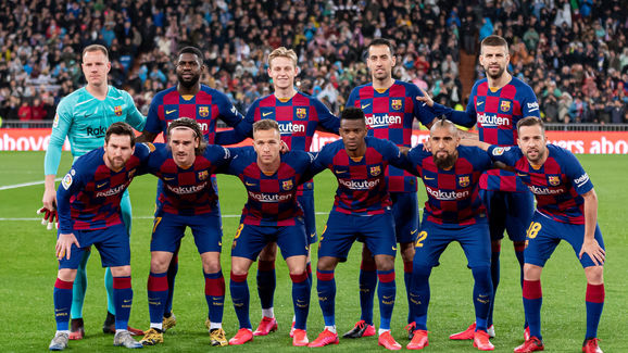Marc-Andre Ter Stegen,Samuel Umtiti,Frenkie de Jong,Sergio Busquets,Gerard Pique,Lionel Messi,Antoine Griezmann,Arthur Melo,Nelson Semedo,Arturo Vidal,Jordi Alba . Player's of FC Barcelona pose for a team photo