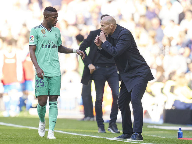 Zinedine Zidane, Manager of Real Madrid,Vinicius Jr