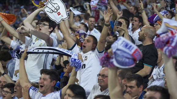 Real Madrid Fans Watch The UEFA Champions League Final Against Liverpool At Bernabeu stadium