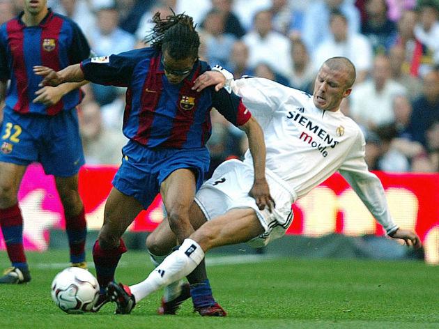 Real Madrid's Briton David Beckham (R) f