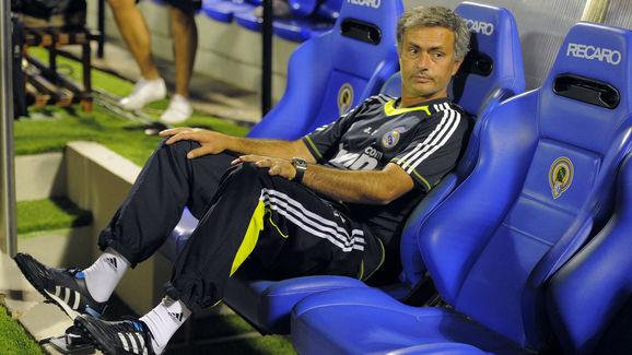 Real Madrid's coach Jose Mourinho watche