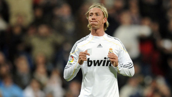 Real Madrid's midfielder Guti reacts dur