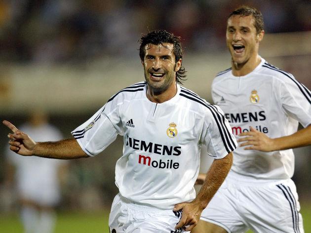 Real Madrid's Portuguese Luis Figo (L) c