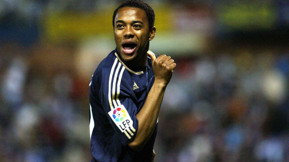 Real Madrid's Robinho celebrates after s