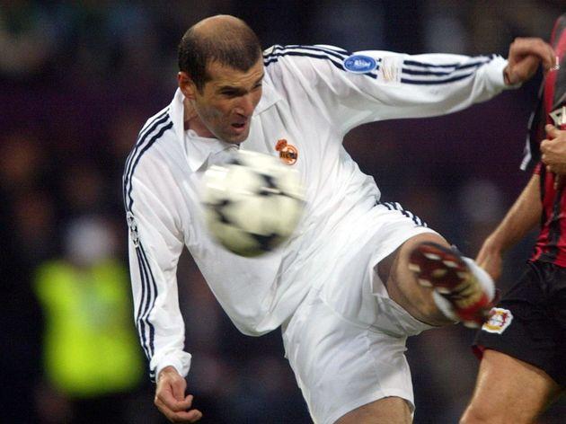 Real Madrid's Zinedine Zidane shoots to score the