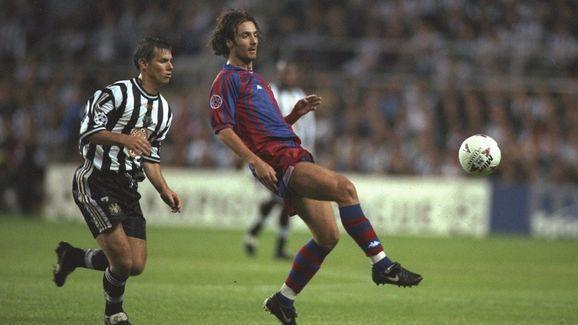 Robert Lee of Newcastle and Christophe Dugarry of Barcelona