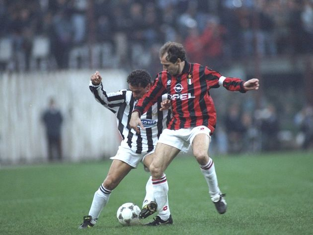 Roberto Baggio of Juventus and Franco Baresi of AC Milan