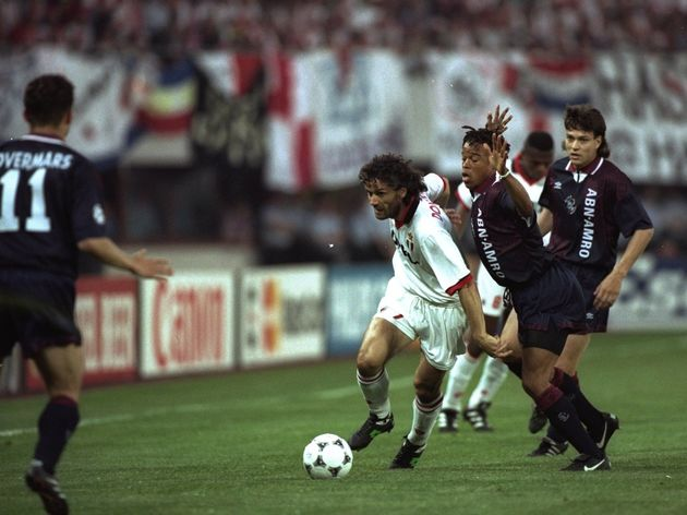 Roberto Donadoni of AC Milan and Edgar Davids and Jari Litmanen of Ajax
