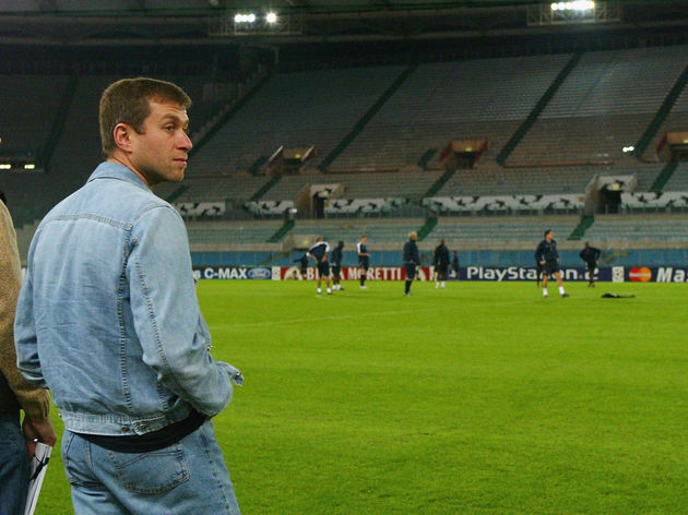 Roman Abramovich watches from the touchline