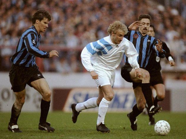 Rudi Voeller of Marseille and Lorenzo Staelens of Club Brugge KV
