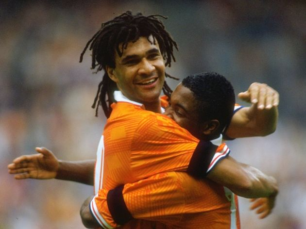 Ruud Gullit and Bryan Roy of Holland