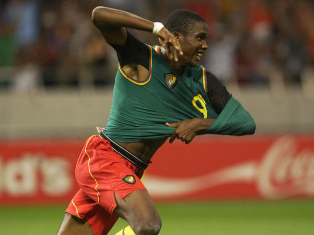 Samuel Eto'o of Cameroon celebrates after scoring the opening goal of the match