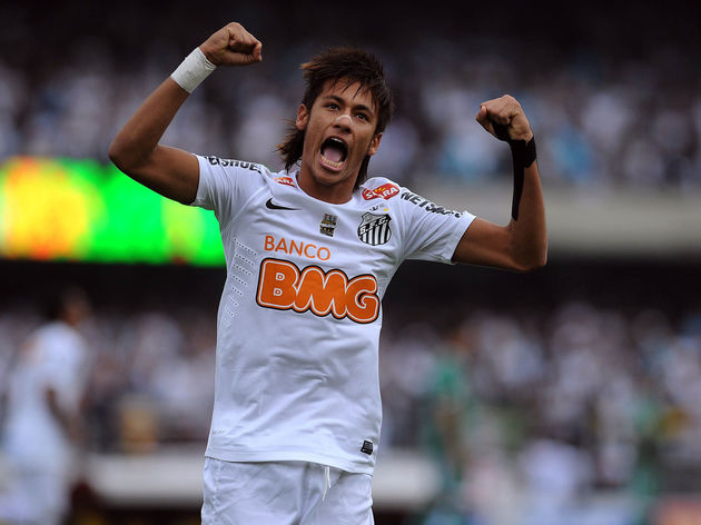 Santos' Neymar, celebrates his goal agai