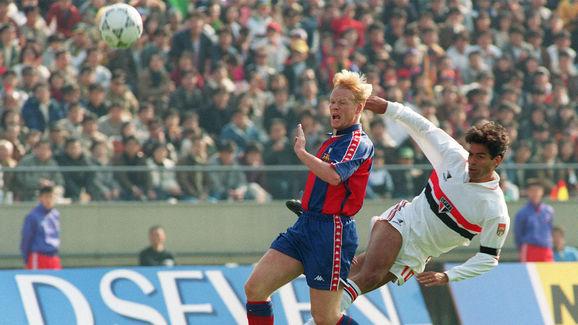 Sao Paulo Captain and star striker Rai (R) steals
