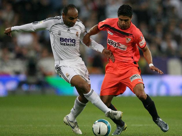 Sevilla's Brazilian midfielder Renato (R...