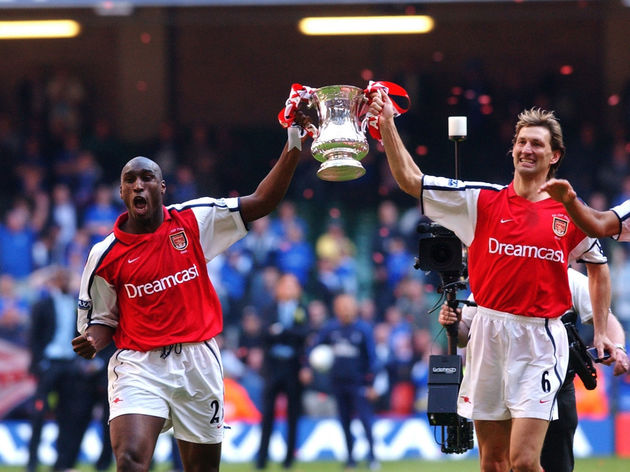 Sol Campbell and Tony Adams of Arsenal